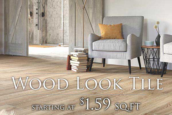 Wood-Look Tile Flooring starting at $1.59 sq.ft. at FloorCo Design Center in Oklahoma City