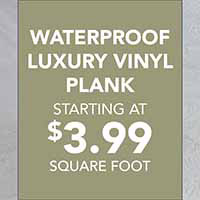 Waterproof luxury vinyl plank on sale staring at $3.99 sq. ft. 7 year commercial warranty and 30 year residential warranty